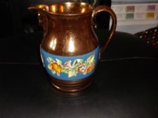 ANTIQUE COPPER LUSTRE JUG BLUE BAND HANDPAINTED RAISED FLOWERS MASK SPOUT 6.25""